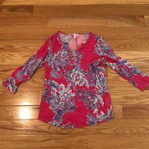 EUC lilly Pulitzer pink and blue coral shirt- S